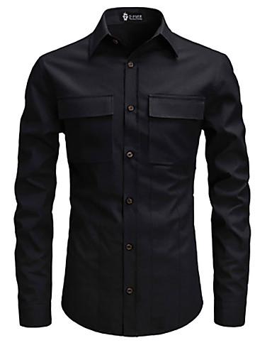voordelige Herenoverhemden-Heren Overhemd Effen Opstaande boord Zwart