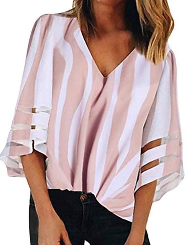 povoljno Ženske majice-Majica s rukavima Žene Color block V izrez Dungi / Chiffon Crn