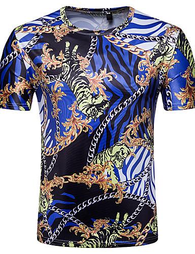 69660bfc2eaf Ανδρικά T-shirt Συνδυασμός Χρωμάτων   3D   Tribal Στάμπα Θαλασσί L