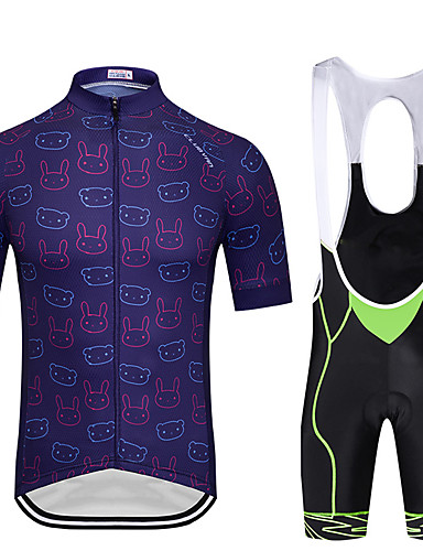 cheap Cycling Clothing-FirtySnow Men's Short Sleeve Cycling Jersey with Bib Shorts - Red Green Blue Bike Breathable Quick Dry Sports Creative Clothing Apparel / Stretchy