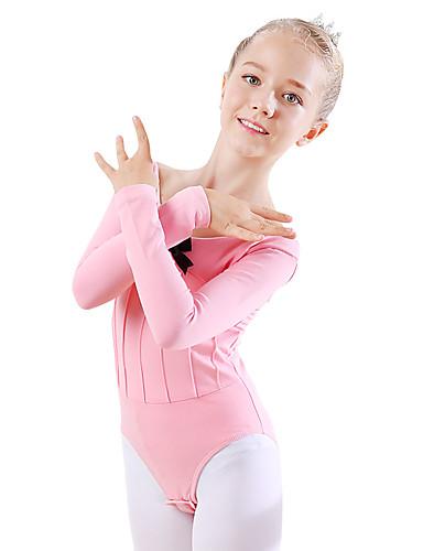 preiswerte Ballettbekleidung-Tanzkleidung für Kinder / Ballett Turnanzug Mädchen Training / Leistung Baumwolle Schleife(n) Langarm Normal Gymnastikanzug / Einteiler