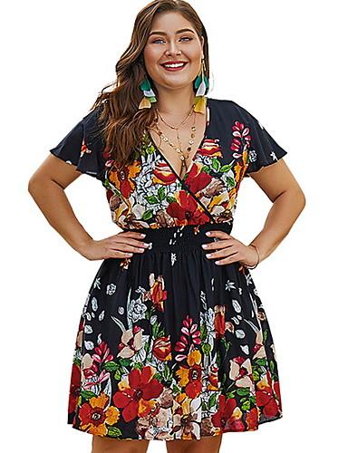 voordelige Grote maten jurken-Dames Elegant A-lijn Jurk - Bloemen, Print Mini