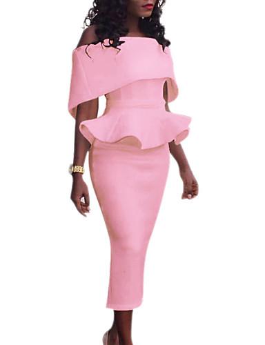 abordables Robes Femme-Femme Midi Moulante Robe - A Volants Epaules Dénudées Sans Bretelles Printemps Eté Automne Noir Rouge Rose Claire XL XXL XXXL Sans Manches