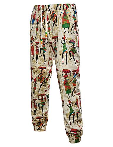 cheap Men's Pants & Shorts-Men's Street chic / Chinoiserie Chinos Pants - Print / Pattern Beige