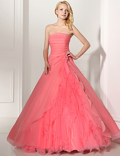 66c59ac8027 Ball Gown Strapless Floor Length Tulle Dress with Pick Up Skirt   Ruched by  JUDY JULIA