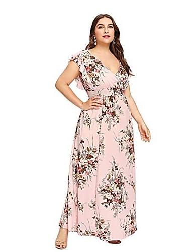 voordelige Grote maten jurken-Dames Grote maten Sexy Wijd uitlopend Jurk - Bloemen, Print Diepe V-hals Maxi