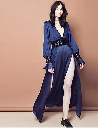 cheap Special Occasion Dresses-Maxi Dress A-Line Plunging Neck Floor Length Chiffon Dress with by LAN TING Express