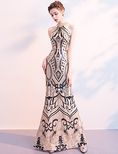 957aa77d Mermaid / Trumpet Halter Neck Floor Length Sequined Dress with Beading /  Sequin by LAN TING Express 7236832 2019 – $129.99