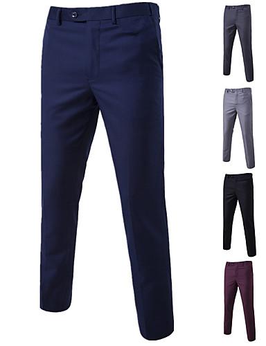 hesapli Damat ve Sağdıç-Erkek Temel Takım Elbise / Chinos Pantolon - Solid Şarap Açık Mavi Açık Gri XXXXL XXXXXL XXXXXXL