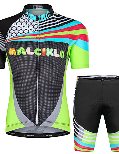 cheap Cycling Clothing-Malciklo Boys' Girls' Short Sleeve Cycling Jersey with Shorts - Black Floral Botanical Bike Clothing Suit UV Resistant Breathable Moisture Wicking Quick Dry Reflective Strips Sports Lycra Floral