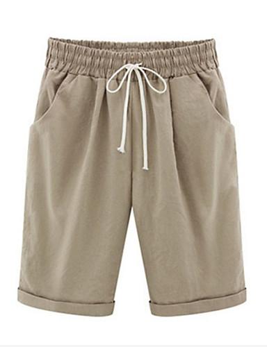 ราคาถูก กางเกงขาสั้น-สำหรับผู้หญิง Sporty / พื้นฐาน ขนาดพิเศษ กางเกง Chinos กางเกง - สีพื้น ดำและเทา, กีฬา สีฟ้า อาร์มี่ กรีน สีกากี XXXL XXXXL XXXXXL