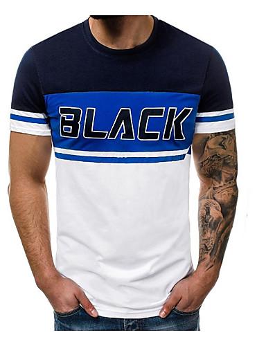 cheap Men's Tees & Tank Tops-Men's T-shirt - Color Block Blue L