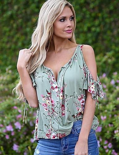 povoljno Ženske majice-Majica s rukavima Žene Cvjetni print V izrez Slim, Nabori / Cvijetan Plava / Proljeće / Ljeto / Jesen