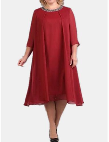 cheap Women's Plus Size Dresses-Women's Basic Tunic Dress - Solid Colored Black Red Navy Blue XXXL XXXXL XXXXXL
