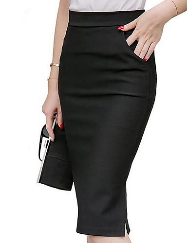 abordables Jupes-Femme Moulante Jupes - Couleur Pleine Noir Rouge Vin XXXXL XXXXXL XXXXXXL