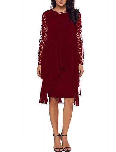 voordelige Grote maten jurken-asymmetrische shift dameswijn paars zwart s m l xl
