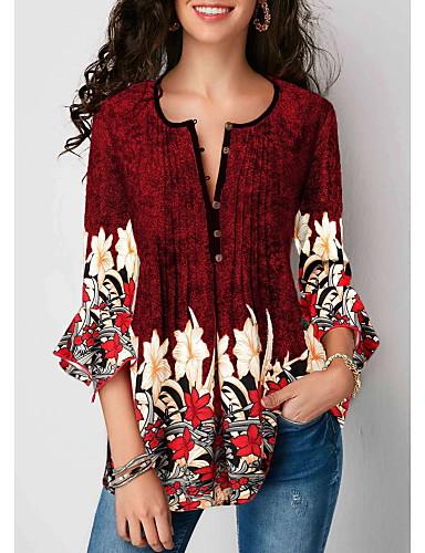abordables Hauts pour Femme-Tee-shirt Femme, Fleur - Coton Mosaïque Col en V Noir