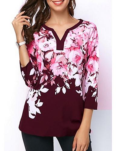 db6d4d1cb9 baratos Blusas e Conjuntos Femininos-Mulheres Camiseta Floral Preto XXXL