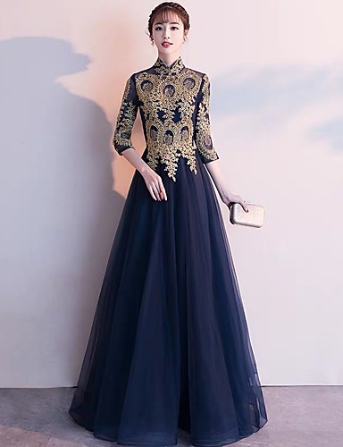 b88bcb37f79 A-Line Queen Anne Floor Length Tulle Dress with Appliques by LAN TING  Express