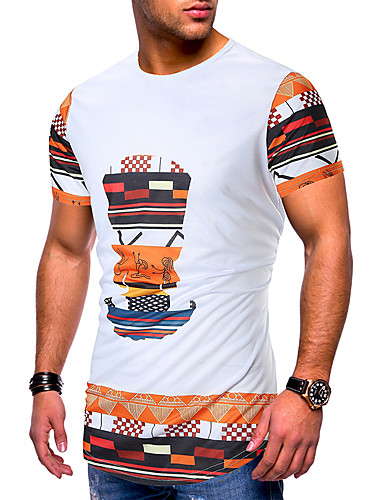 cheap Men's Clothing-Men's EU / US Size Cotton T-shirt - Geometric / Graphic Patchwork / Print Round Neck White L
