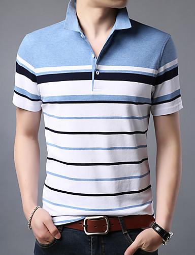 voordelige Herenpolo's-Heren Polo Katoen Gestreept Overhemdkraag blauw