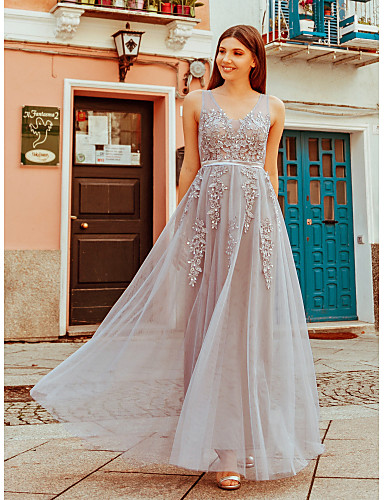 02376ab5 cheap Bridesmaid Dresses-A-Line Scoop Neck Floor Length Tulle Bridesmaid  Dress with Appliques