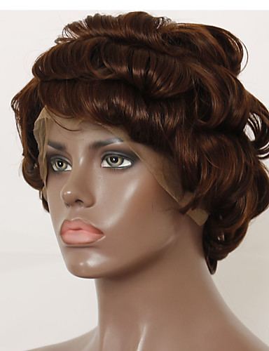 povoljno Perike s ljudskom kosom-Virgin kosa Remy kosa Lace Front Perika Bob frizura Stepenasta frizura Duboko udaljavanje stil Brazilska kosa Kovrčav Wavy Kestenjast Smeđa Perika 130% Gustoća kose Prirodno Prijelaz boje Prirodna
