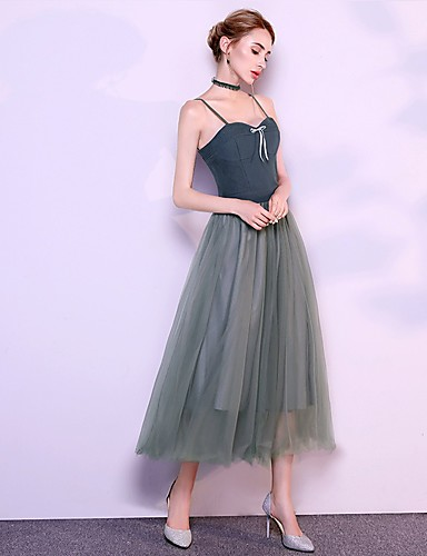 0d38f1d231c A-Line Spaghetti Strap Ankle Length Tulle Bridesmaid Dress with by LAN TING  Express