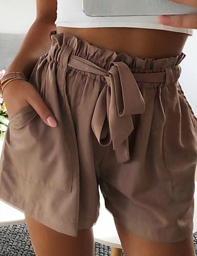 ราคาถูก กางเกงขาสั้น-สำหรับผู้หญิง พื้นฐาน กางเกงขาสั้น กางเกง - สีพื้น ผ้าขนสัตว์สีธรรมชาติ สีเทา สีกากี M L XL