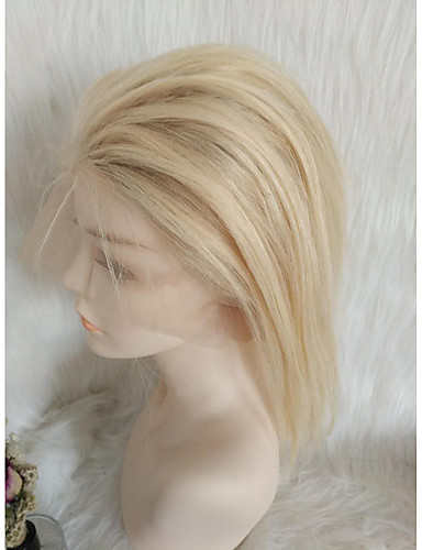 abordables Perruques Naturelles Dentelle-Perruque Cheveux Naturel humain Full Lace Cheveux Malaisiens Droite naturelle Blond Partie libre Femme Densité 130% avec des cheveux de bébé Homme Grosses soldes Court Blond Platine Autres