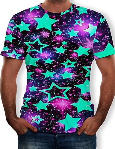 Miesten Pyöreä kaula-aukko Painettu Galaksi / Color Block / 3D T-paita Musta