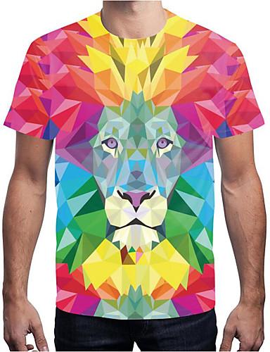 abordables Camisetas y Tops de Hombre-Hombre Estampado Camiseta, Escote Redondo Geométrico / Arco iris / Animal Arco Iris XL