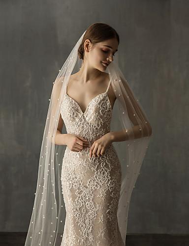 billige Bryllupsslør-En-lags Elegant & Luksuriøs Bryllupsslør Katedral Slør med Imiterede Perler Tyl