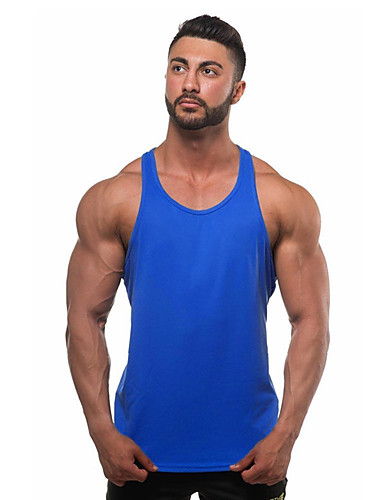 cheap Men's Tees & Tank Tops-Men's Daily Sports Beach Active Cotton Tank Top - Solid Colored Basic Gray L / Sleeveless / Summer