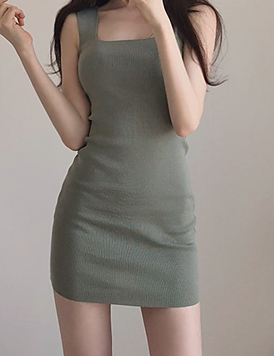 fc77a8b87ce Women s Basic Sweater Dress - Solid Colored Backless Patchwork Army Green  One-Size