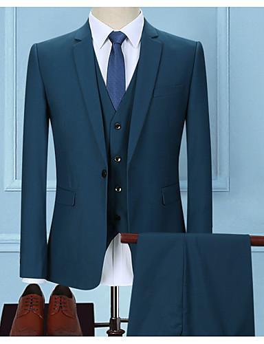 voordelige Herenblazers & kostuums-Heren Grote maten Pakken, Effen Overhemdkraag Polyester Lichtgrijs / Marine Blauw / Lichtblauw