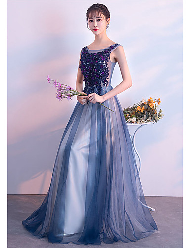 e02275f255 cheap Bridesmaid Dresses-A-Line Bateau Neck Floor Length Tulle Bridesmaid  Dress with Appliques