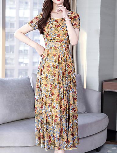 Amabile Vestito Da Donna Altalena Midi In Chiffon Rosso Nero Giallo M L Xl Xxl #07260408