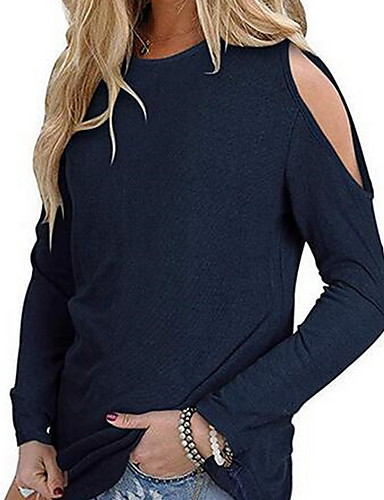 abordables Hauts pour Femme-Tee-shirt Grandes Tailles Femme, Couleur Pleine Epaules Dénudées Ample Vin / Printemps / Eté / Automne / Hiver