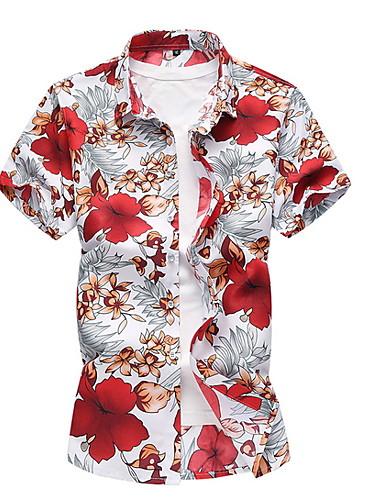 Hombre Camisa Floral Azul Piscina XXXXL