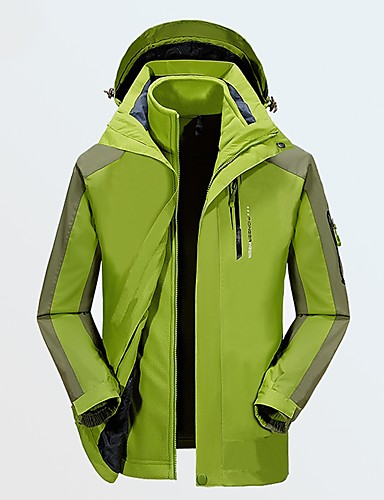 cheap Outdoor Clothing-Men's Solid Color Hiking Jacket Outdoor Winter Windproof Comfortable Thick Heat Retaining Top Double Sliders Camping / Hiking / Caving Traveling Red / Royal Blue / Dark Green