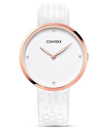 Moda Auténtico Relojes Quartz Blanco Cuero Comtex Mujer Cuarzo ybfY6vg7