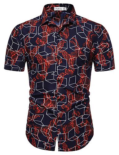 voordelige Herenoverhemden-Heren Print EU / VS maat - Overhemd Katoen Bloemen / Geometrisch Wijn