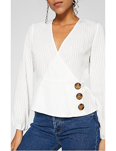 abordables Camisas y Camisetas para Mujer-Mujer Remache Camisa Un Color Blanco S