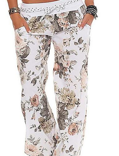 billige Tights til damer-Dame Grunnleggende Store størrelser Løstsittende / Bloomers Bukser - Blomstret Hvit Rosa Militærgrønn S M L