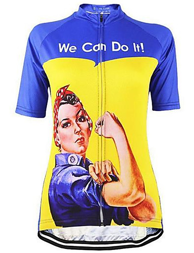 cheap Cycling Clothing-21Grams Women's Short Sleeve Cycling Jersey Blue Pink Violet Retro Rosie the Riveter Plus Size Bike Jersey Top Breathable Quick Dry Sweat-wicking Sports Terylene Mountain Bike MTB Road Bike Cycling