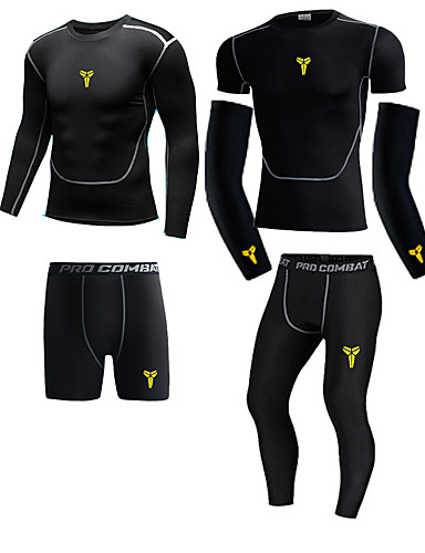 cheap Compression Clothing-Men's Compression Shirt Compression Pants Long Pant Compression Compression Clothing Warm Ventilation Quick Dry Comfortable Black Black / Yellow Outdoor Exercise Multisport Outdoor Micro-elastic