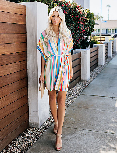 cheap Women's Dresses-Women's Elegant Shift Dress - Rainbow Lace up Rainbow L XL XXL