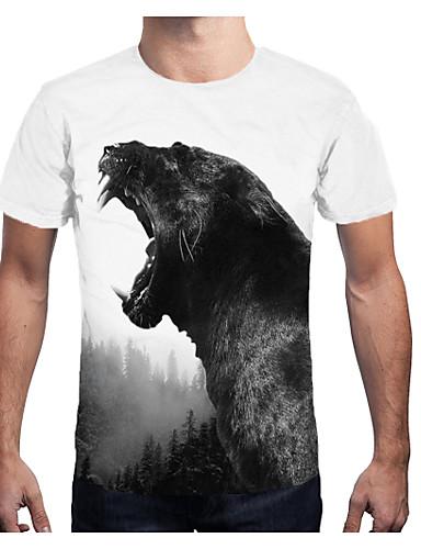 voordelige Herenbovenkleding-Heren Print T-shirt 3D Wit XL