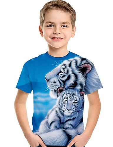 Bambino - Bambino (1-4 Anni) Da Ragazzo Attivo - Essenziale Con Stampe Con Stampe Manica Corta Poliestere - Elastene T-shirt Azzurro #07340385